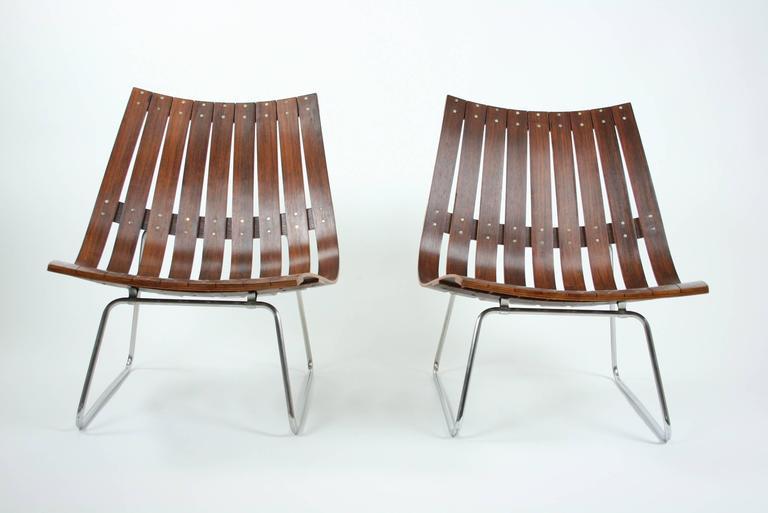 Mid-Century Modern Pair of Kjell Richardsen Tynes möbelfabrik, rosewood lounge chairs circa 1960 For Sale