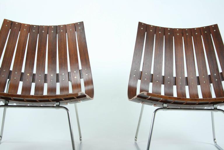Norwegian Pair of Kjell Richardsen Tynes möbelfabrik, rosewood lounge chairs circa 1960 For Sale