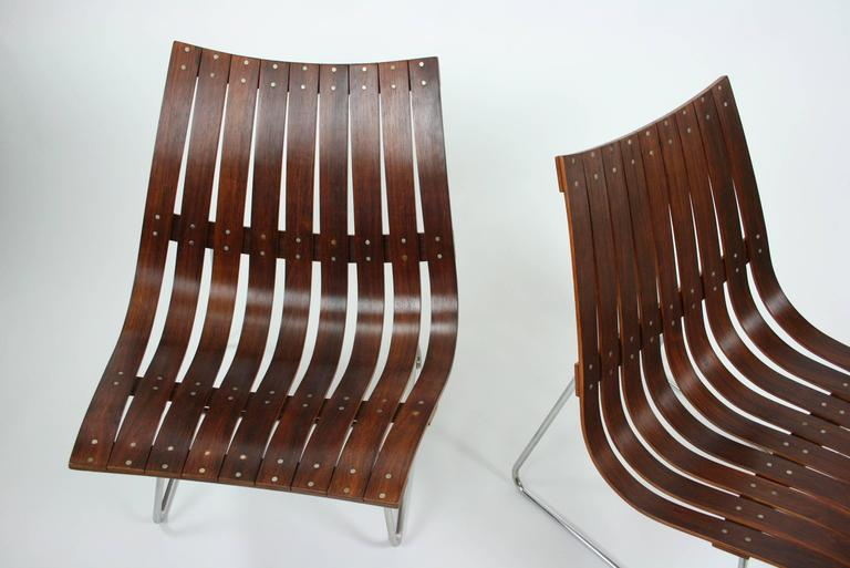 Pair of Kjell Richardsen Tynes möbelfabrik, rosewood lounge chairs circa 1960 In Good Condition For Sale In Chicago, IL