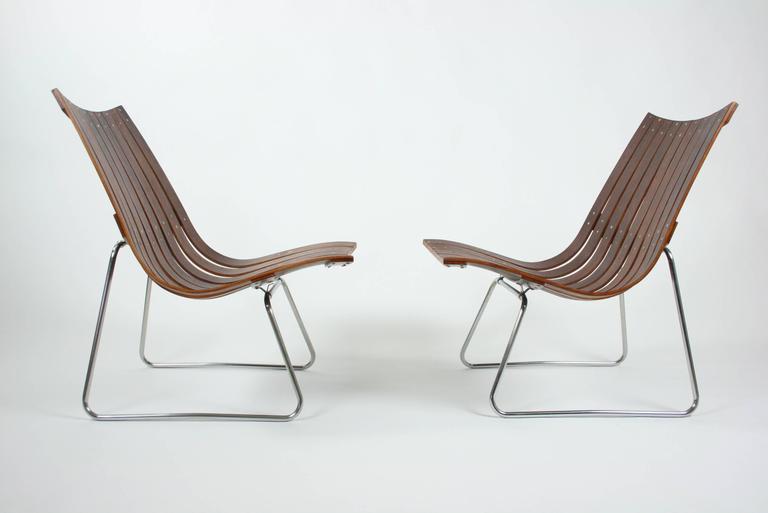 Mid-20th Century Pair of Kjell Richardsen Tynes möbelfabrik, rosewood lounge chairs circa 1960 For Sale