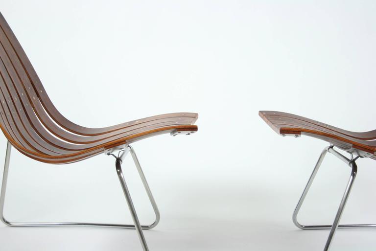 Steel Pair of Kjell Richardsen Tynes möbelfabrik, rosewood lounge chairs circa 1960 For Sale