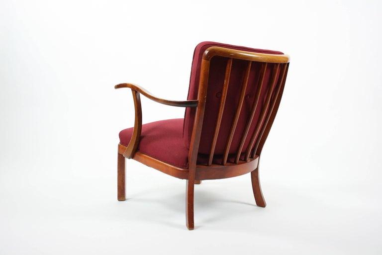 Mid-Century Modern Søren Hansen Lounge Chair Model 1628 Fritz Hansen Denmark, circa 1940 For Sale