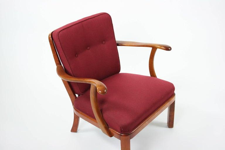 Søren Hansen Lounge Chair Model 1628 Fritz Hansen Denmark, circa 1940 In Excellent Condition For Sale In Chicago, IL