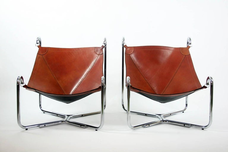 Leather Gianni Pareschi and Ezio Didone Baffo Lounge Chairs for Busnelli, Italy, 1969 For Sale