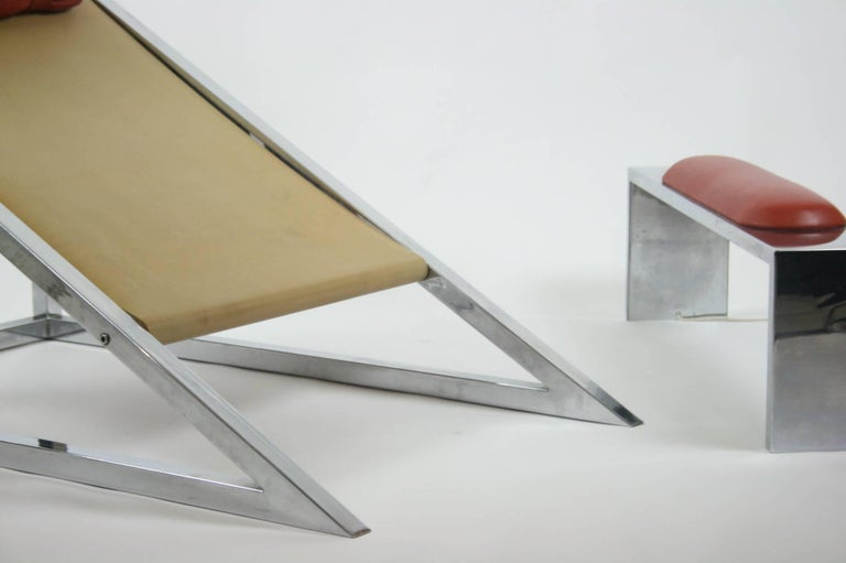 Italian Mies Chair and Ottoman, Archizoom Associati, 1969 For Sale