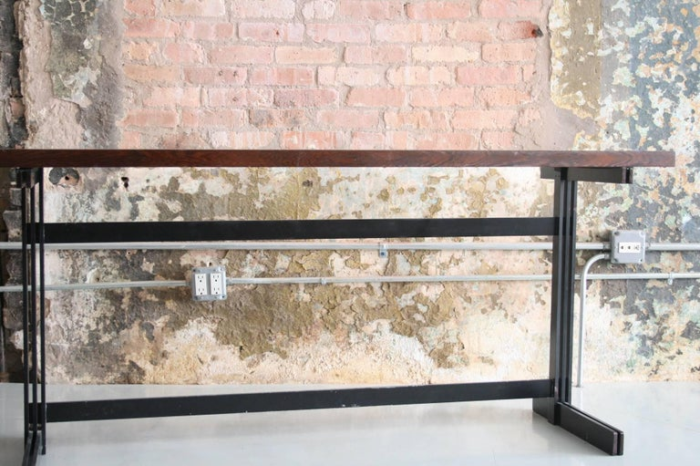 Mid-Century Modern Jules Wabbes Le Mobilier Universel Belgium Wenge and Steel Console For Sale