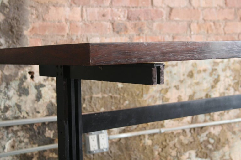 Belgian Jules Wabbes Le Mobilier Universel Belgium Wenge and Steel Console For Sale
