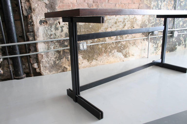 Jules Wabbes Le Mobilier Universel Belgium Wenge and Steel Console In Fair Condition For Sale In Chicago, IL