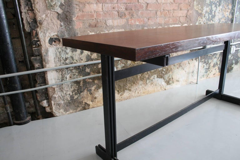 Jules Wabbes Le Mobilier Universel Belgium Wenge and Steel Console For Sale 1