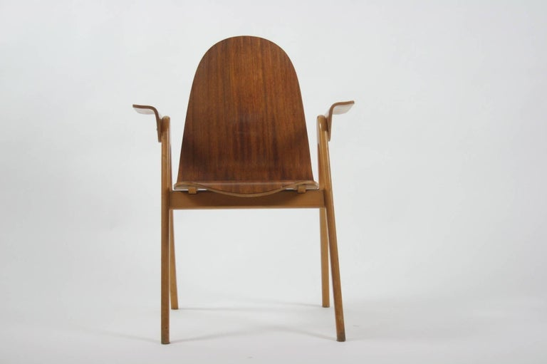 1953 Molded Plywood Armchair by Yngve Ekstrom In Excellent Condition For Sale In Chicago, IL