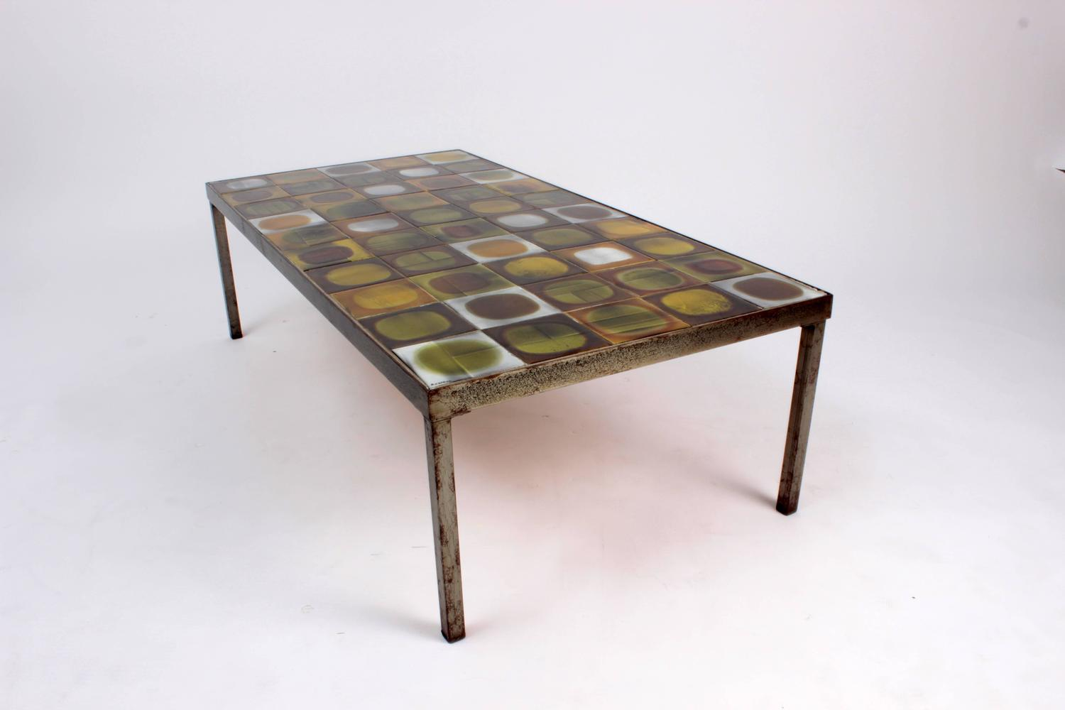 Coffee Table Planete by Roger Capron, Enameled Ceramic, France, c -> Table Basse Capron