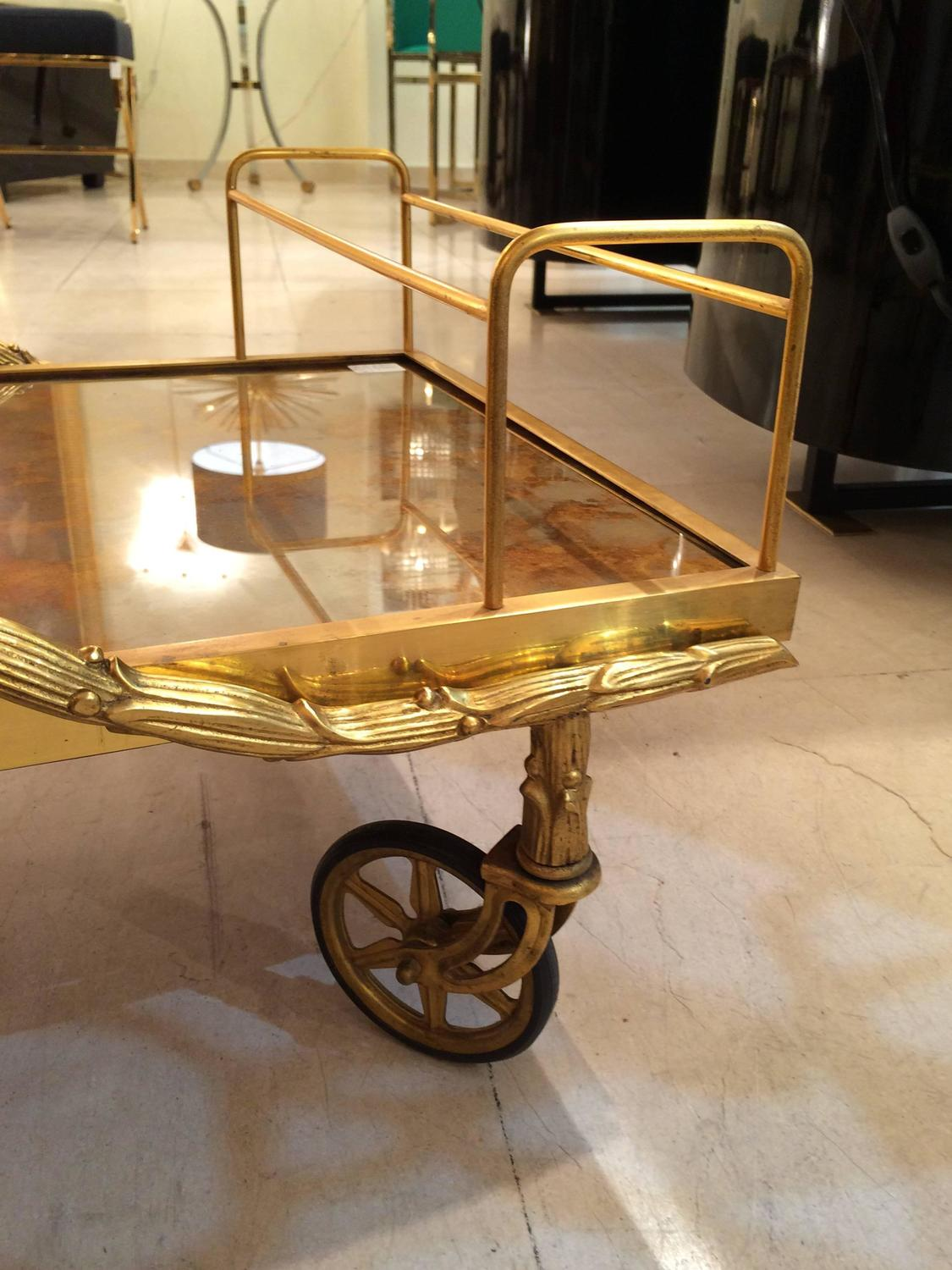 1940s Maison Bagues Rare Bronze Bar Cart At 1stdibs