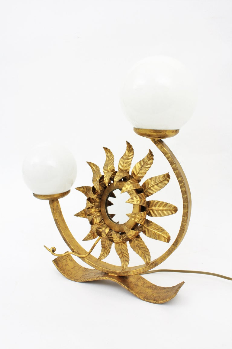20th Century Spanish Gilt Iron Sunflower Sunburst Mirror Table Lamp with Milk Glass Globes For Sale