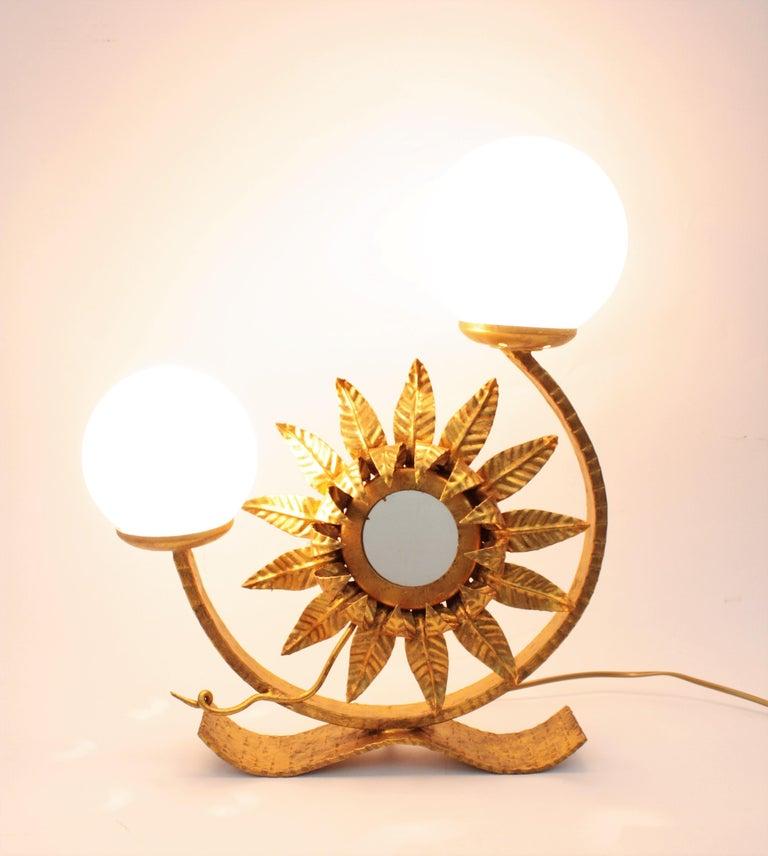 Spanish Gilt Iron Sunflower Sunburst Mirror Table Lamp with Milk Glass Globes For Sale 2