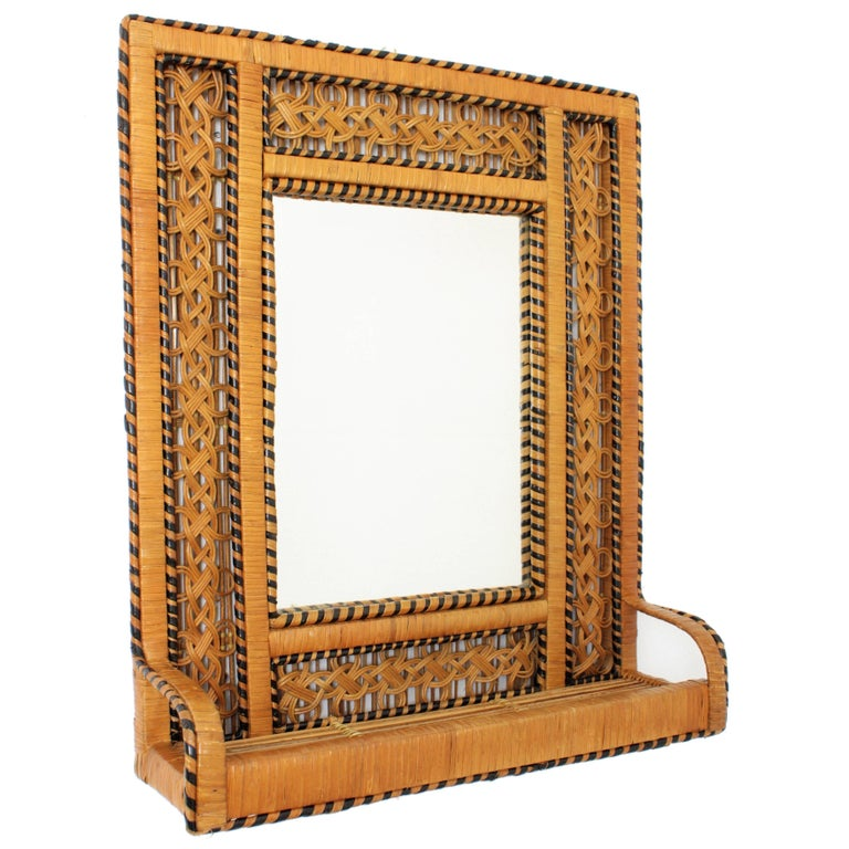 "Spanish 1960s Wicker Rectangular Shelf Mirror in the ""Emmanuelle"" Chair Manner"