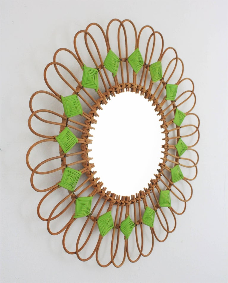 Mid-Century Modern Rare Spanish 1950s Rattan Sunburst Flower Shaped Mirror with Green Rhombus For Sale