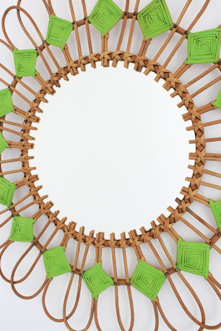 Hand-Crafted Rare Spanish 1950s Rattan Sunburst Flower Shaped Mirror with Green Rhombus For Sale