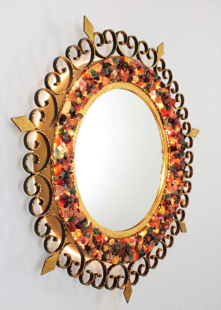 Unique 1960s Illuminated Wrough Gilt Iron Multi Gemstone Mosaic Sunburst Mirror For Sale 2