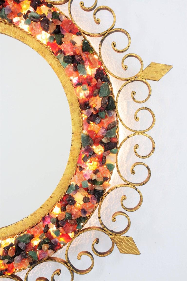 Unique 1960s Illuminated Wrough Gilt Iron Multi Gemstone Mosaic Sunburst Mirror For Sale 5
