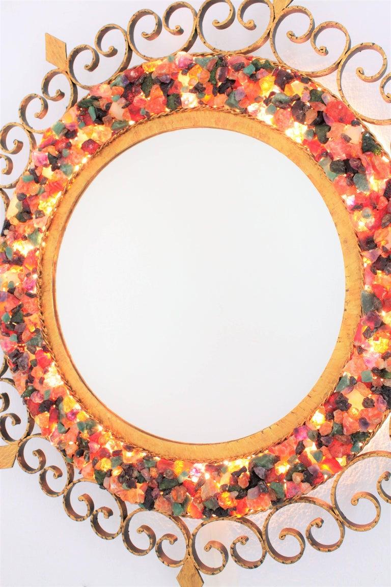 Unique 1960s Illuminated Wrough Gilt Iron Multi Gemstone Mosaic Sunburst Mirror For Sale 6