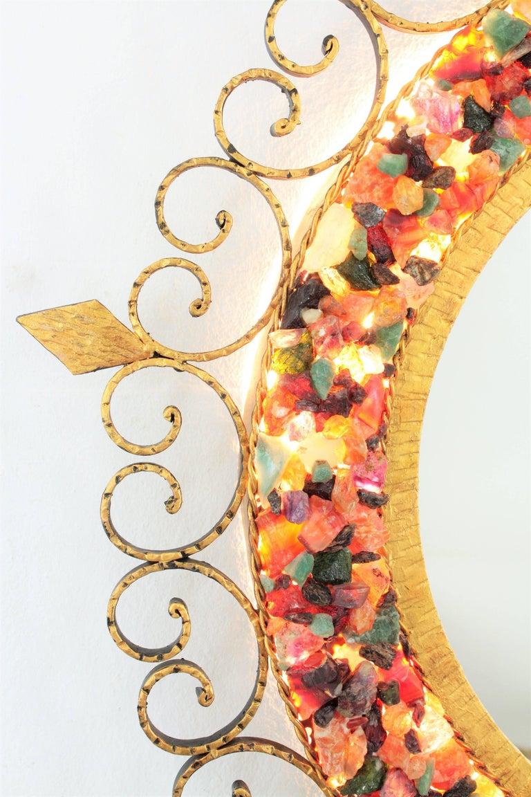 Mid-20th Century Unique 1960s Illuminated Wrough Gilt Iron Multi Gemstone Mosaic Sunburst Mirror For Sale