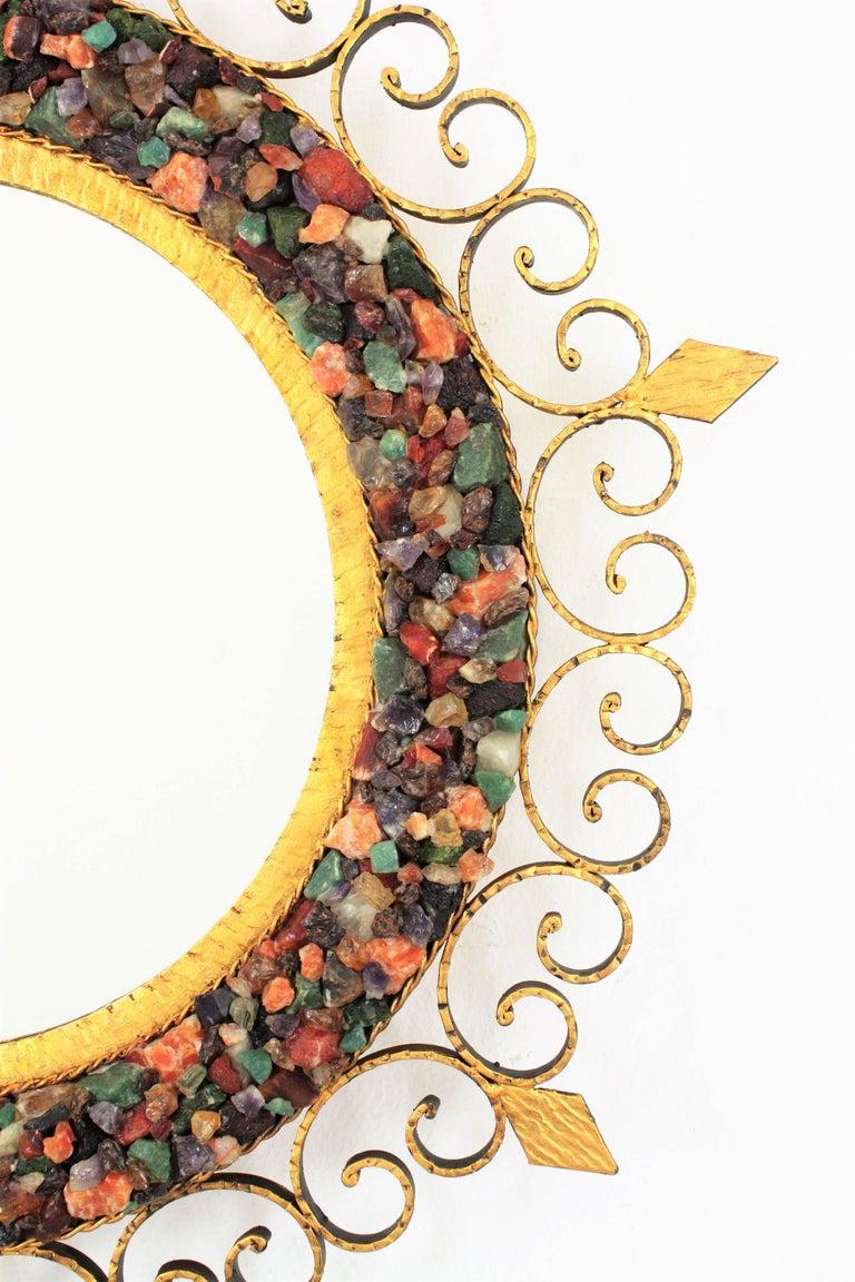 Unique 1960s Illuminated Wrough Gilt Iron Multi Gemstone Mosaic Sunburst Mirror For Sale 3