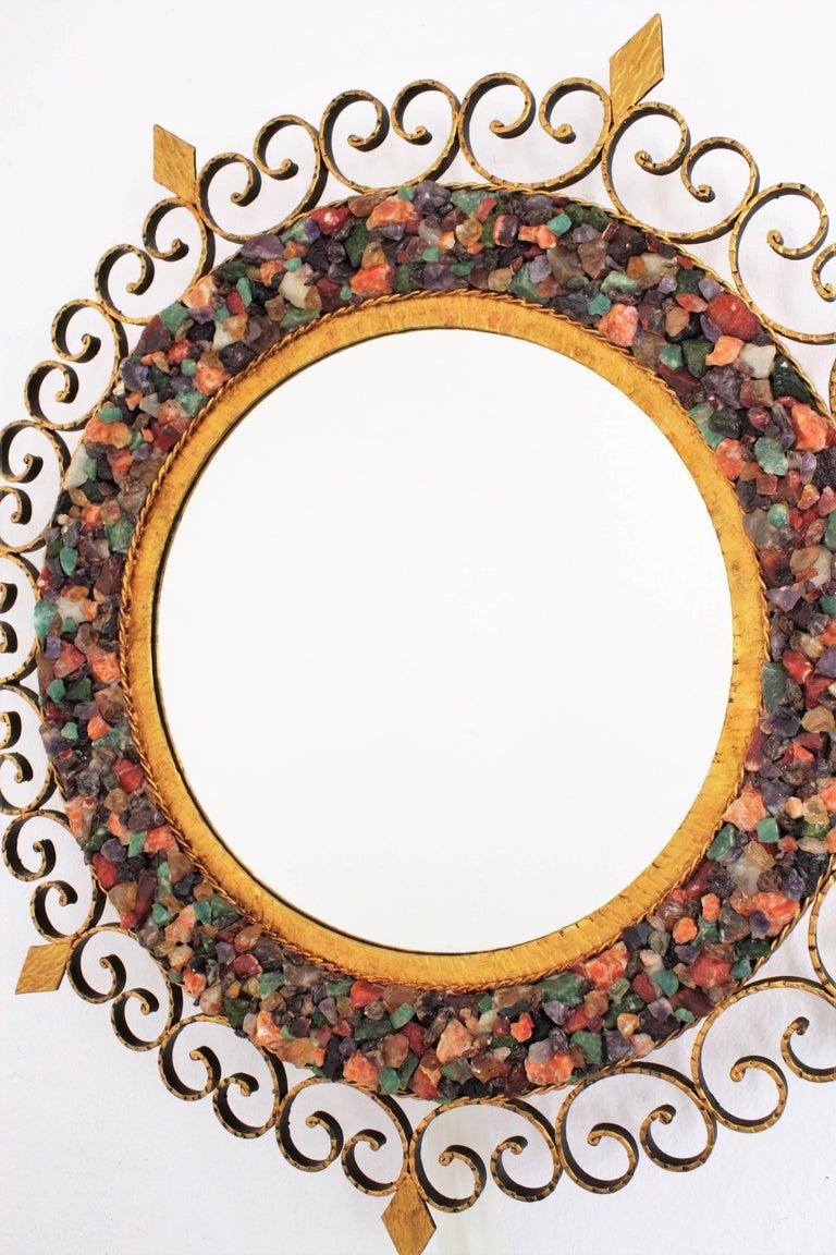 Unique 1960s Illuminated Wrough Gilt Iron Multi Gemstone Mosaic Sunburst Mirror For Sale 4