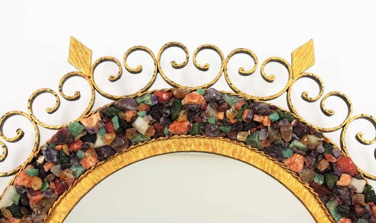 Unique 1960s Illuminated Wrough Gilt Iron Multi Gemstone Mosaic Sunburst Mirror For Sale 7