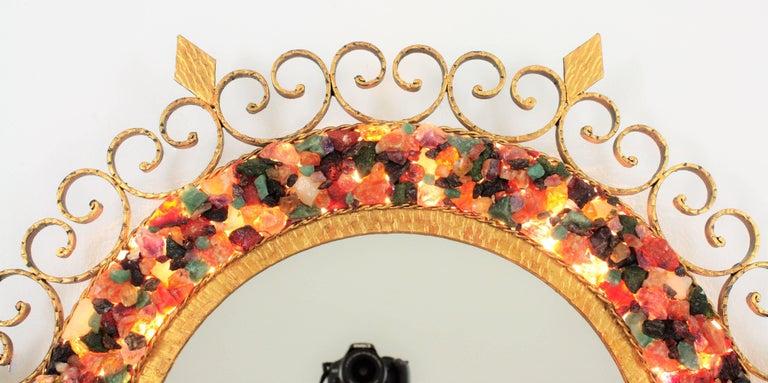 Unique 1960s Illuminated Wrough Gilt Iron Multi Gemstone Mosaic Sunburst Mirror For Sale 8