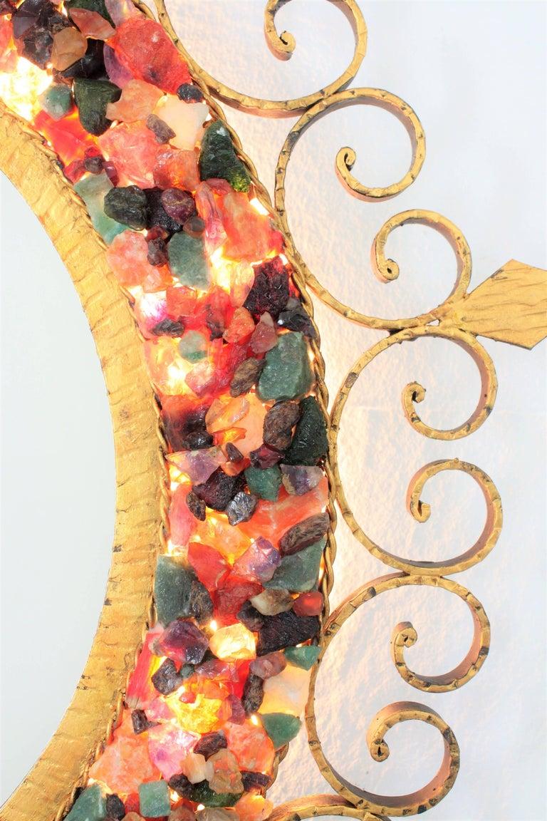 Unique 1960s Illuminated Wrough Gilt Iron Multi Gemstone Mosaic Sunburst Mirror For Sale 9