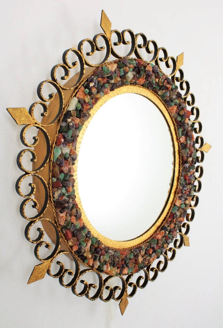 Unique 1960s Illuminated Wrough Gilt Iron Multi Gemstone Mosaic Sunburst Mirror For Sale 11