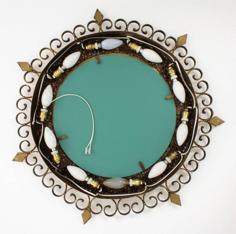 Unique 1960s Illuminated Wrough Gilt Iron Multi Gemstone Mosaic Sunburst Mirror For Sale 12