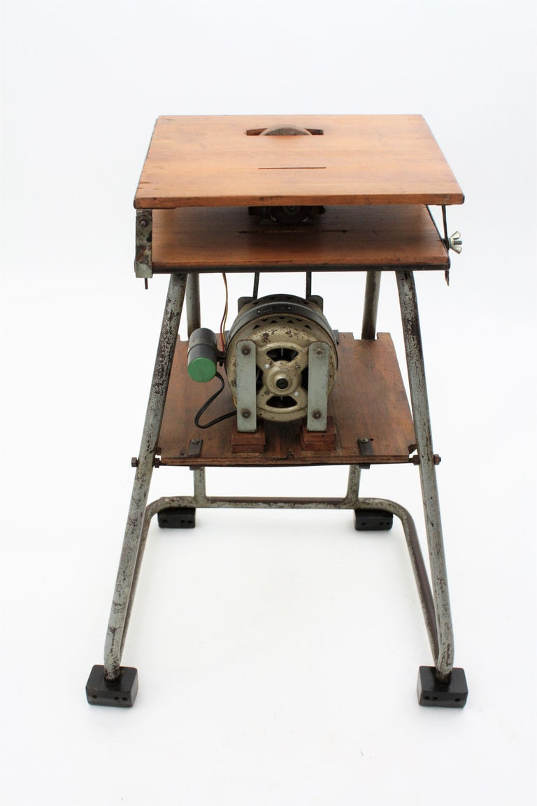 Mid-20th Century Craftsman Industrial Table Saw as Side Table, Spain 1940s For Sale 5