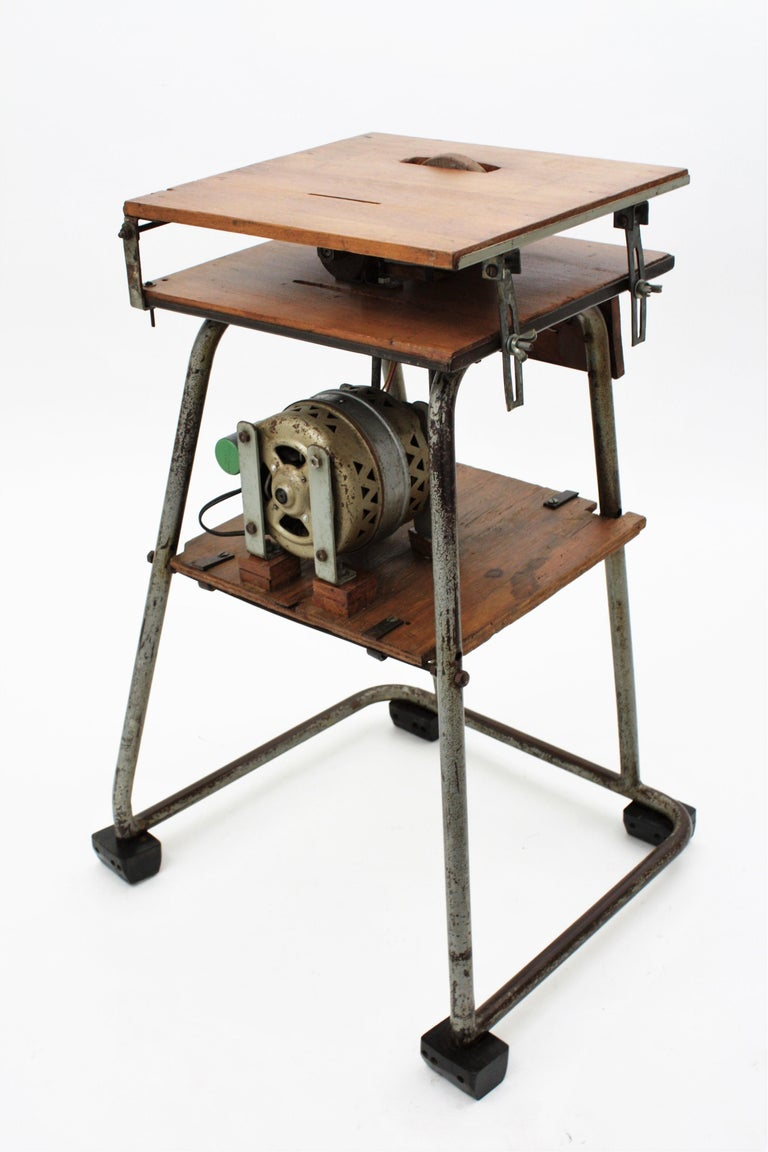 Mid-20th Century Craftsman Industrial Table Saw as Side Table, Spain 1940s For Sale 4