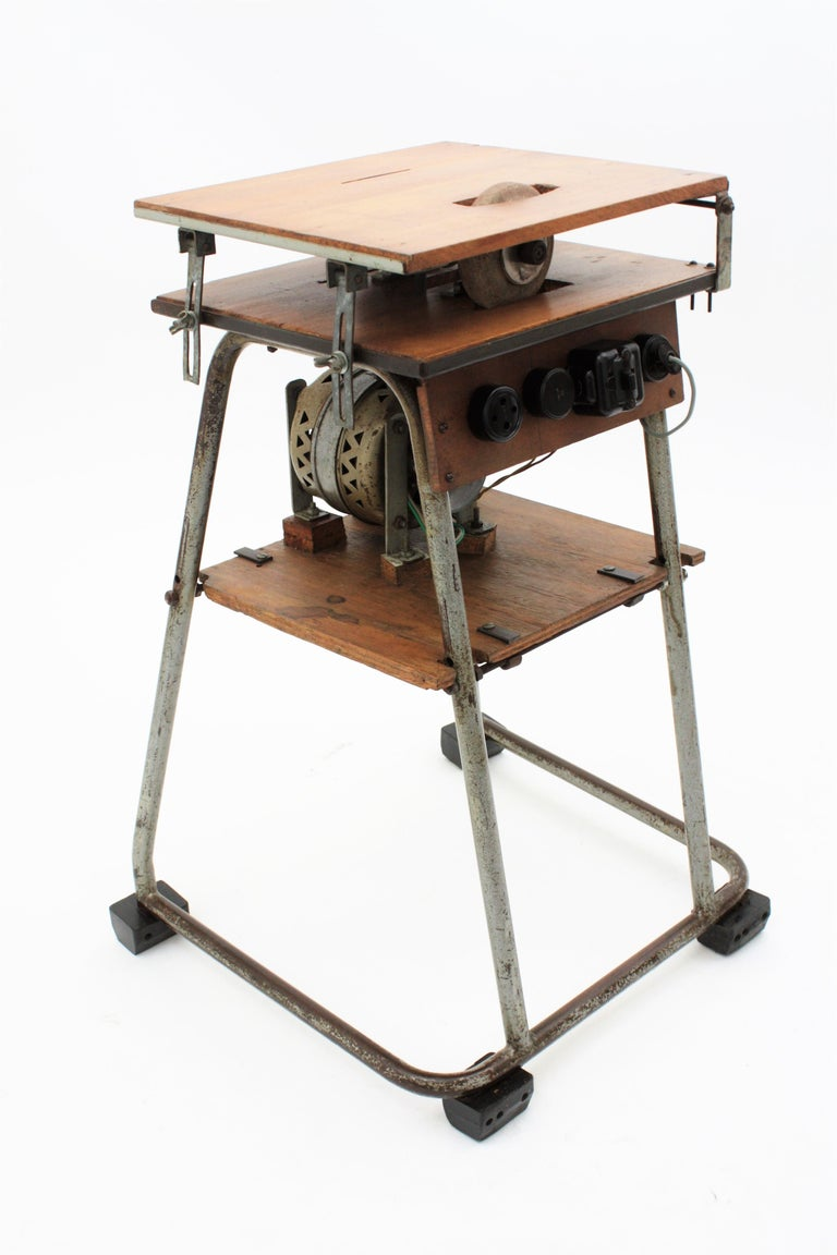 Mid-20th Century Craftsman Industrial Table Saw as Side Table, Spain 1940s For Sale 1