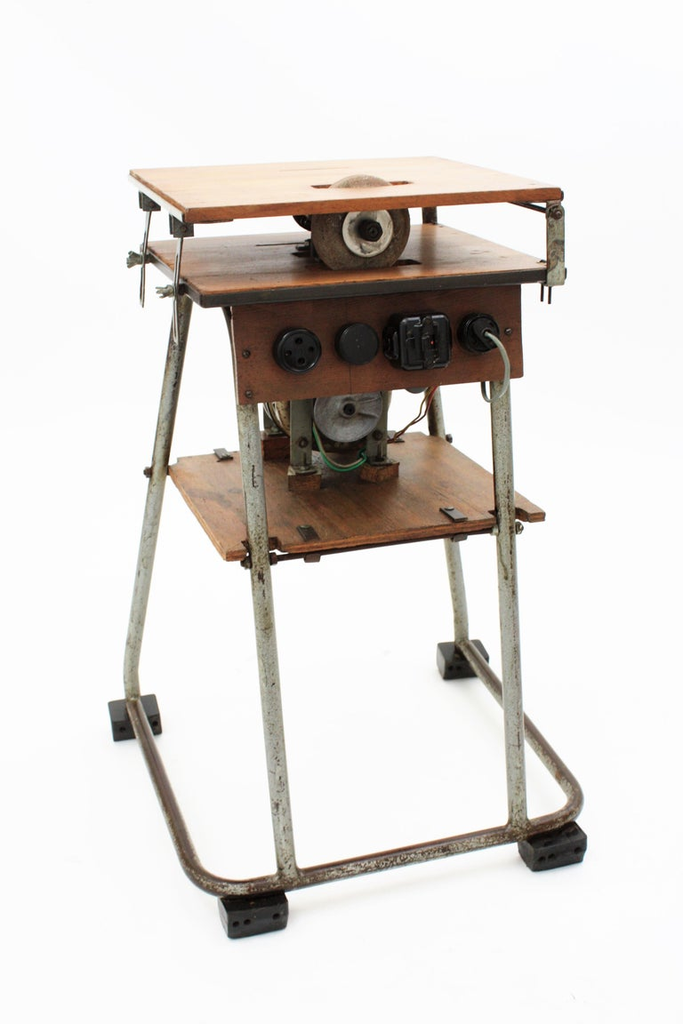 Mid-20th Century Craftsman Industrial Table Saw as Side Table, Spain 1940s For Sale 2