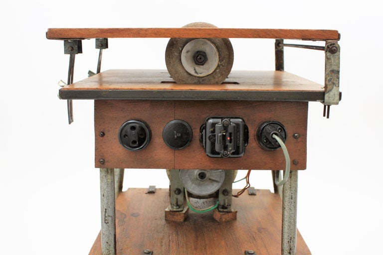 Spanish power saw and milling machine craftsman industrial work table or stand. The saw has been removed to use the top surface as a side table and the engine has been blocked. Spain, 1940s.