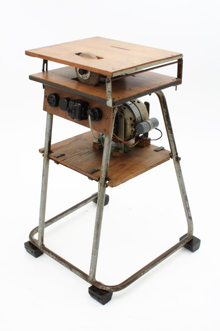 Spanish Mid-20th Century Craftsman Industrial Table Saw as Side Table, Spain 1940s For Sale