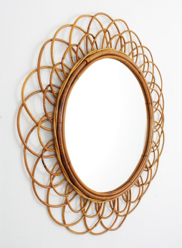 Mid-Century Modern French Riviera Double Layered Rattan Flower Burst Sunburst Mirror, France, 1960s For Sale