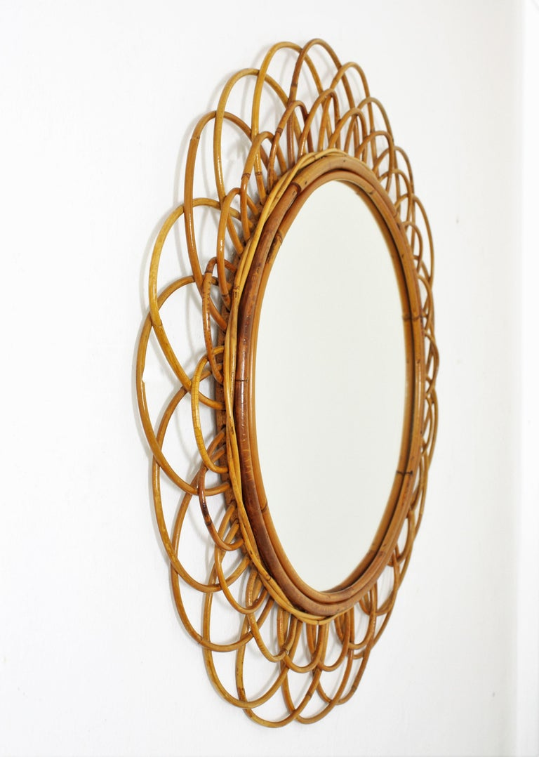Hand-Crafted French Riviera Double Layered Rattan Flower Burst Sunburst Mirror, France, 1960s For Sale