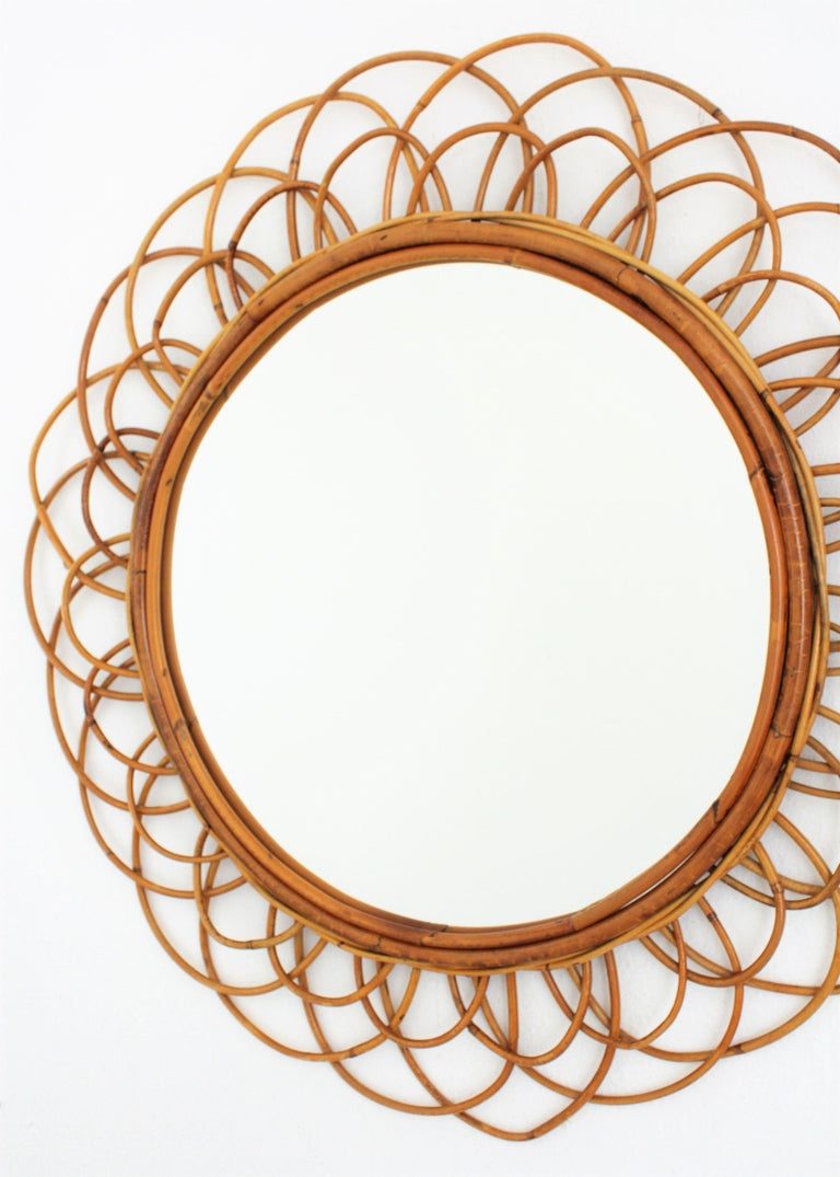 French Riviera Double Layered Rattan Flower Burst Sunburst Mirror, France, 1960s For Sale 1