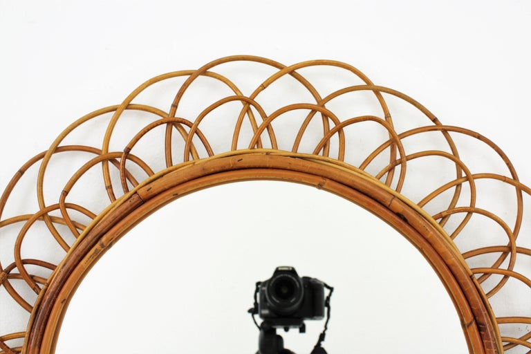French Riviera Double Layered Rattan Flower Burst Sunburst Mirror, France, 1960s For Sale 3