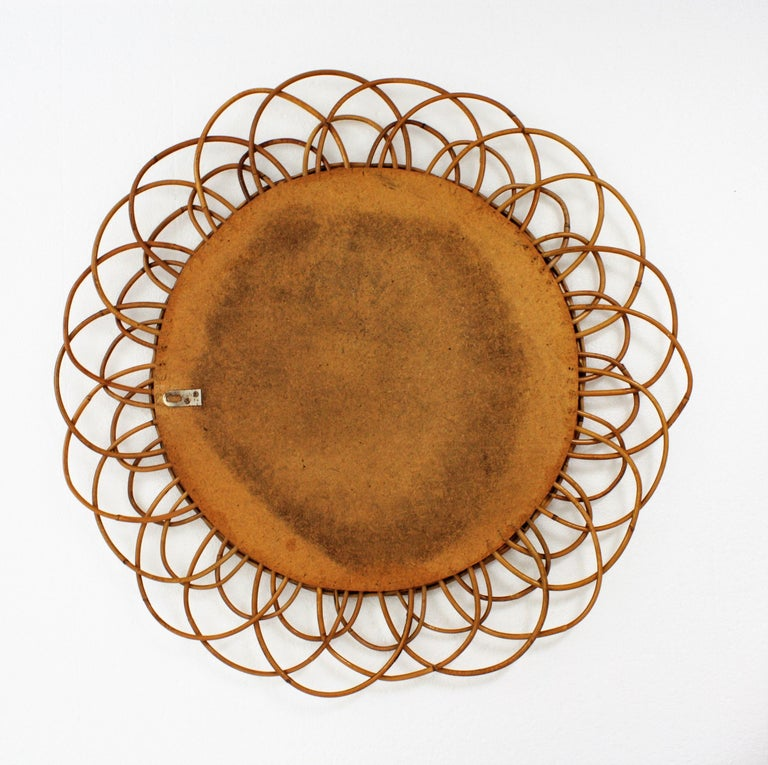 French Riviera Double Layered Rattan Flower Burst Sunburst Mirror, France, 1960s For Sale 4