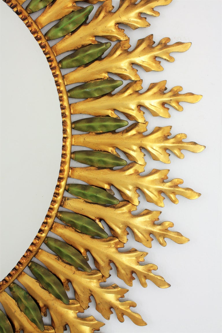 Large Spanish 1960s Hollywood Regency Gold Gilt Iron and Green Sunburst Mirror For Sale 1