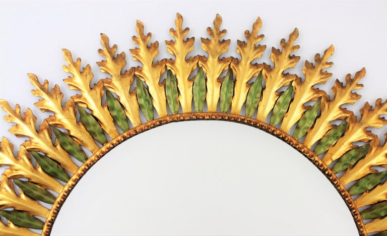 Large Spanish 1960s Hollywood Regency Gold Gilt Iron and Green Sunburst Mirror For Sale 4
