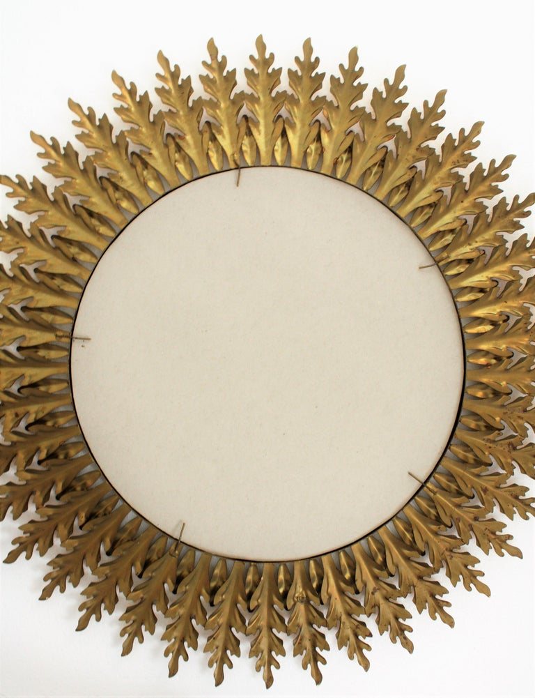 Large Spanish 1960s Hollywood Regency Gold Gilt Iron and Green Sunburst Mirror For Sale 5