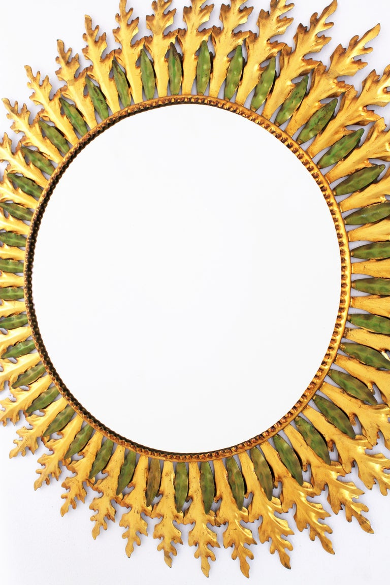 Large Spanish 1960s Hollywood Regency Gold Gilt Iron and Green Sunburst Mirror For Sale 3