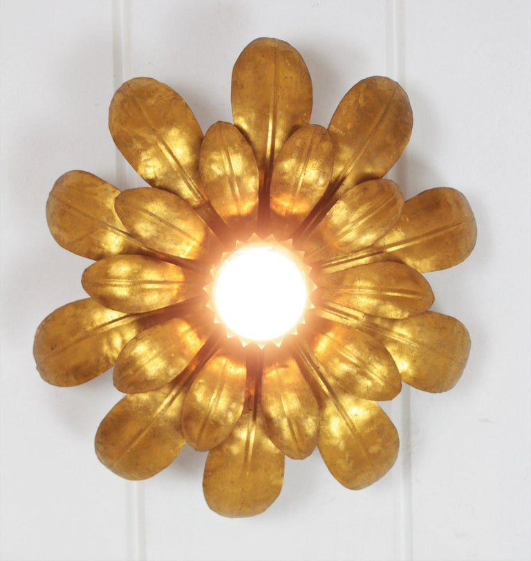 20th Century French 1950s Gilt Iron Flower Shaped Sunburst Ceiling Flush Mount Light Fixture For