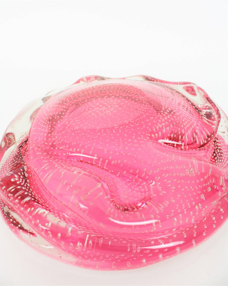 Archimede Seguso Pink Controlled Bubbles Murano Glass Centrepiece / Large Bowl For Sale 3