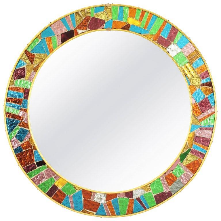Spanish 1960s Multicolor Glass Mosaic Circular Mirror